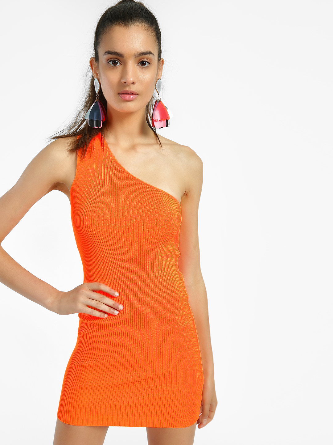 Miss Toxic Orange One Shoulder Ribbed Bodycon Dress 1