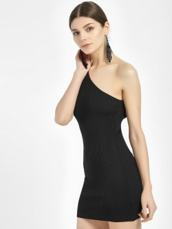 Miss Toxic One Shoulder Ribbed Bodycon Dress