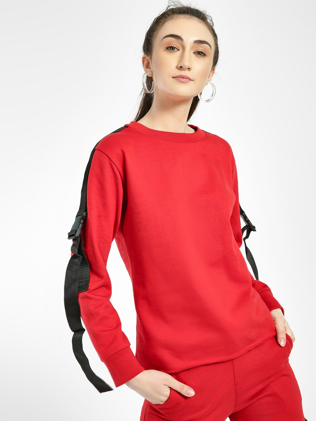 Miss Toxic Red Multi Utility Tape Detail Blouse 1