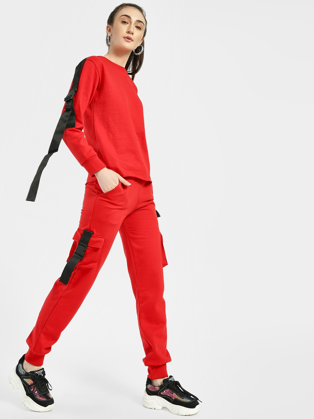 Miss Toxic Red Contrast Tape Detail Joggers 1