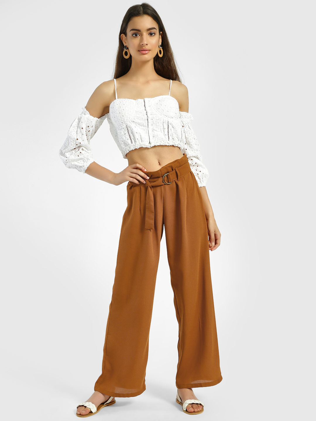 Oliv Tan Tie Waist Belted Trousers 1
