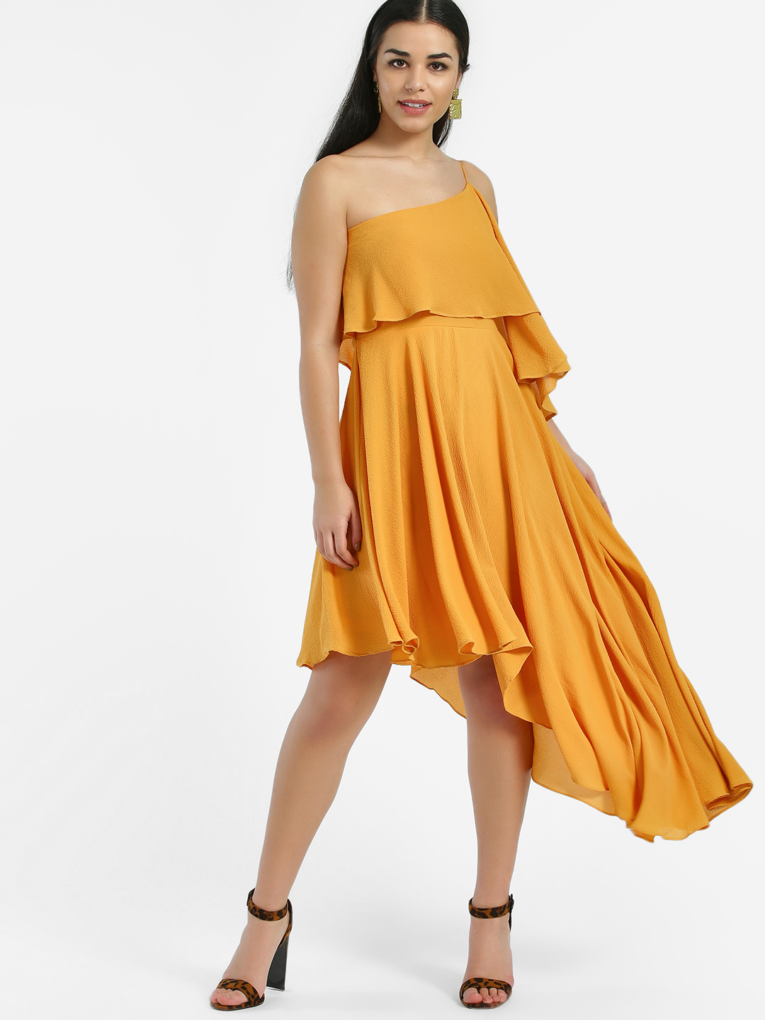 Oliv Mustard One Shoulder Asymmetric Midi Dress 1