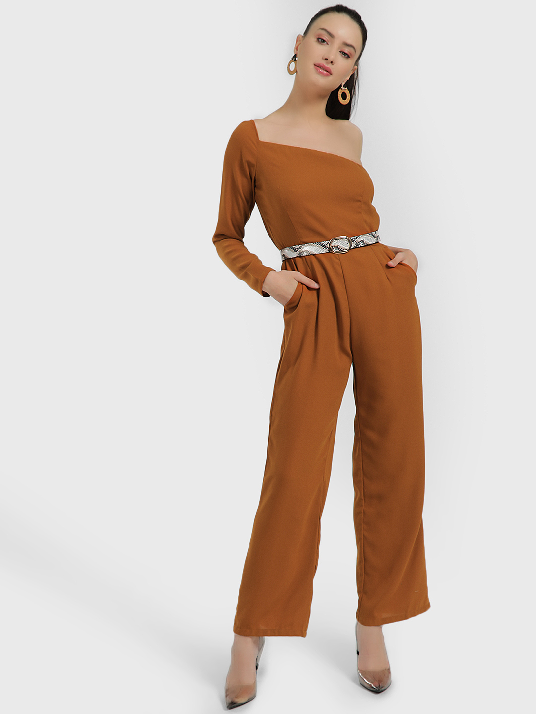 Oliv Mustard One Shoulder Jumpsuit 1