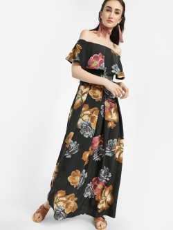 Oliv Floral Print Off-Shoulder Maxi Dress