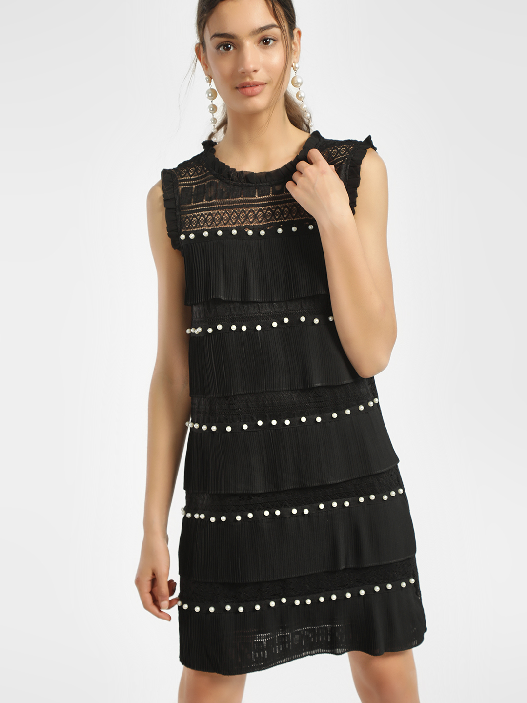 JJ's Fairyland Black Pearl Embellished Lace Pleated Shift Dress 1