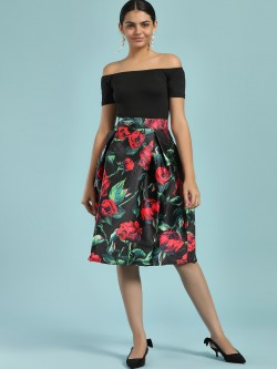 Ax Paris 2-In-1 Floral Print Skater Dress
