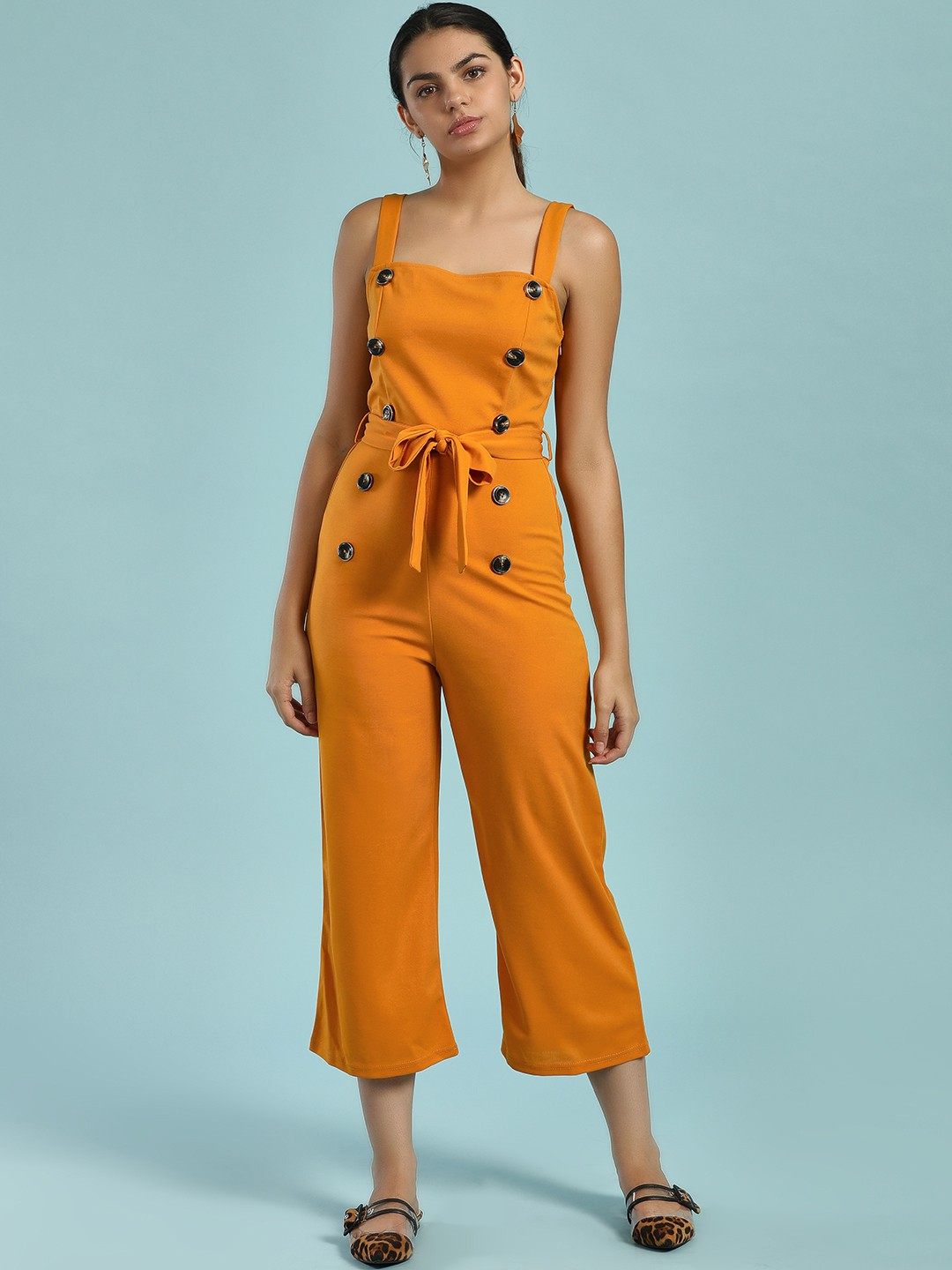 Ax Paris Mustard Button Front Cropped Jumpsuit 1