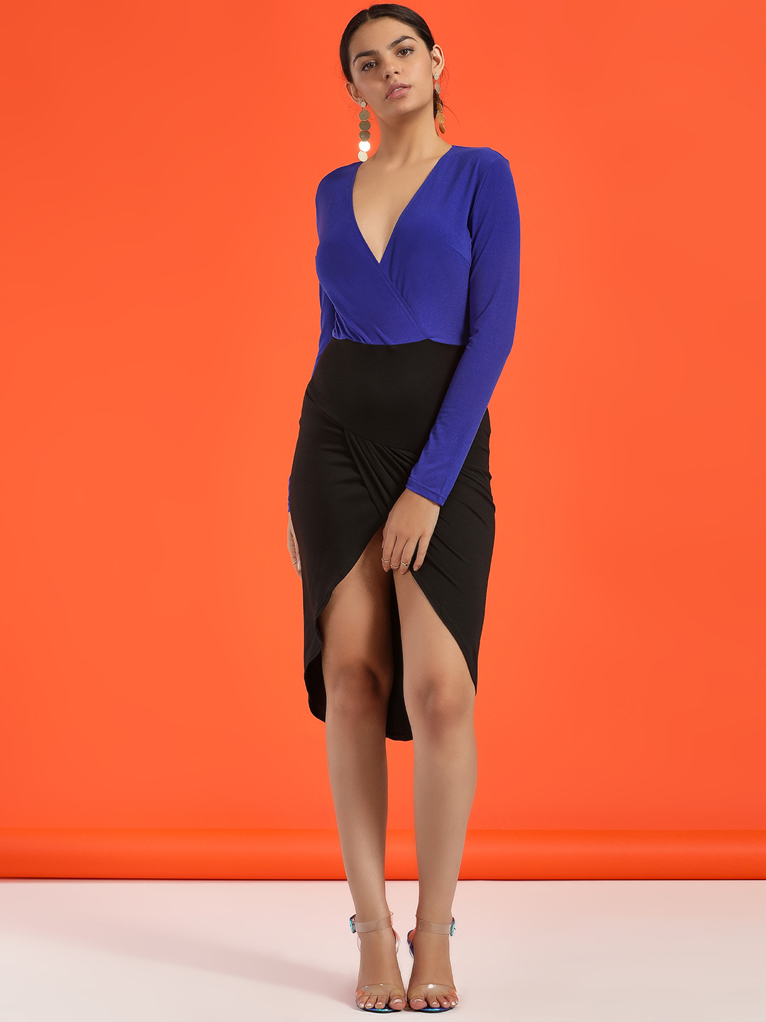 Ax Paris Blue Colour Block Wrap Bodycon Dress 1