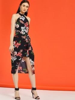 Ax Paris Floral Print Halter Midi Dress