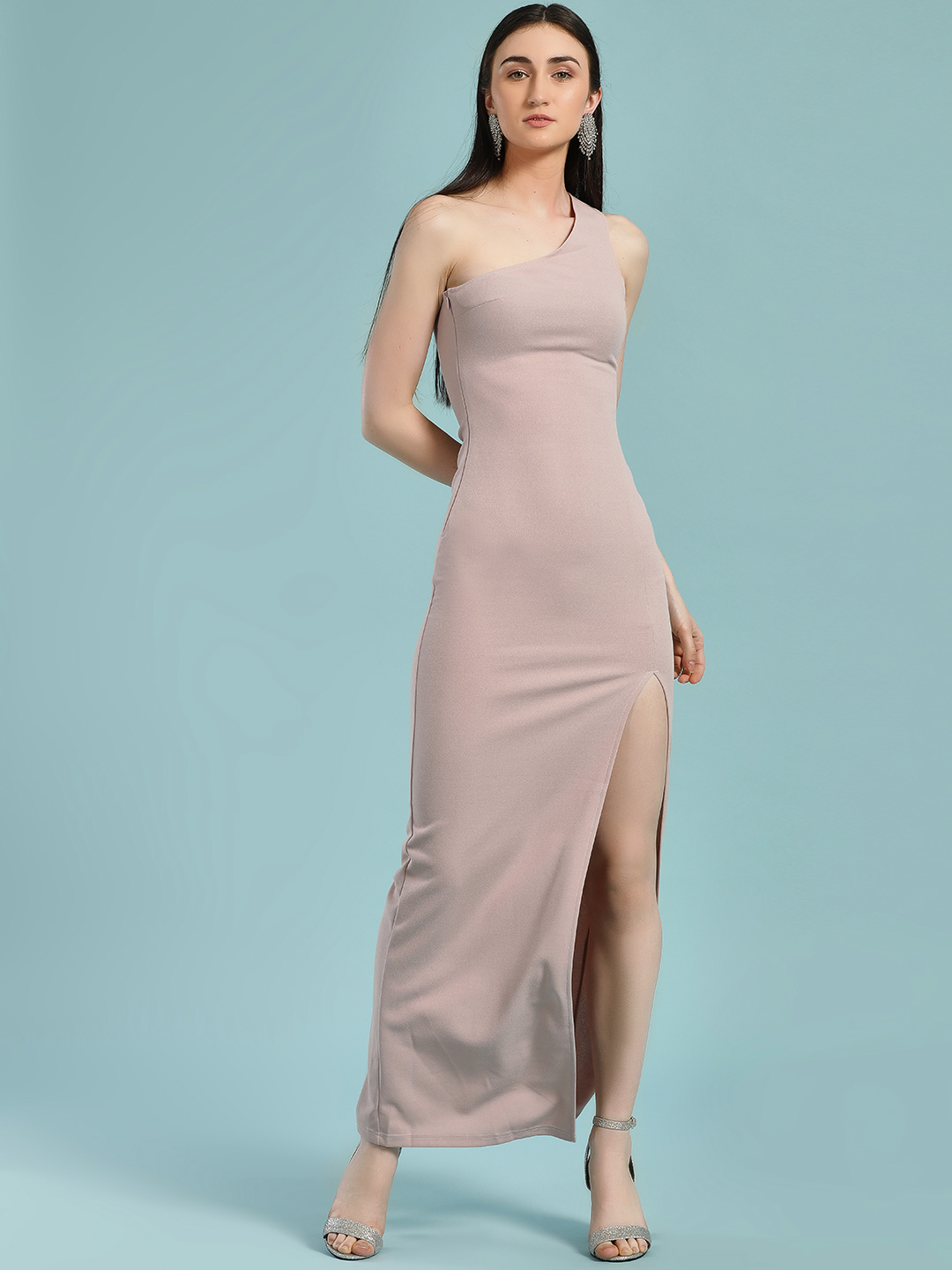 Ax Paris Pink One Shoulder Maxi Dress 1