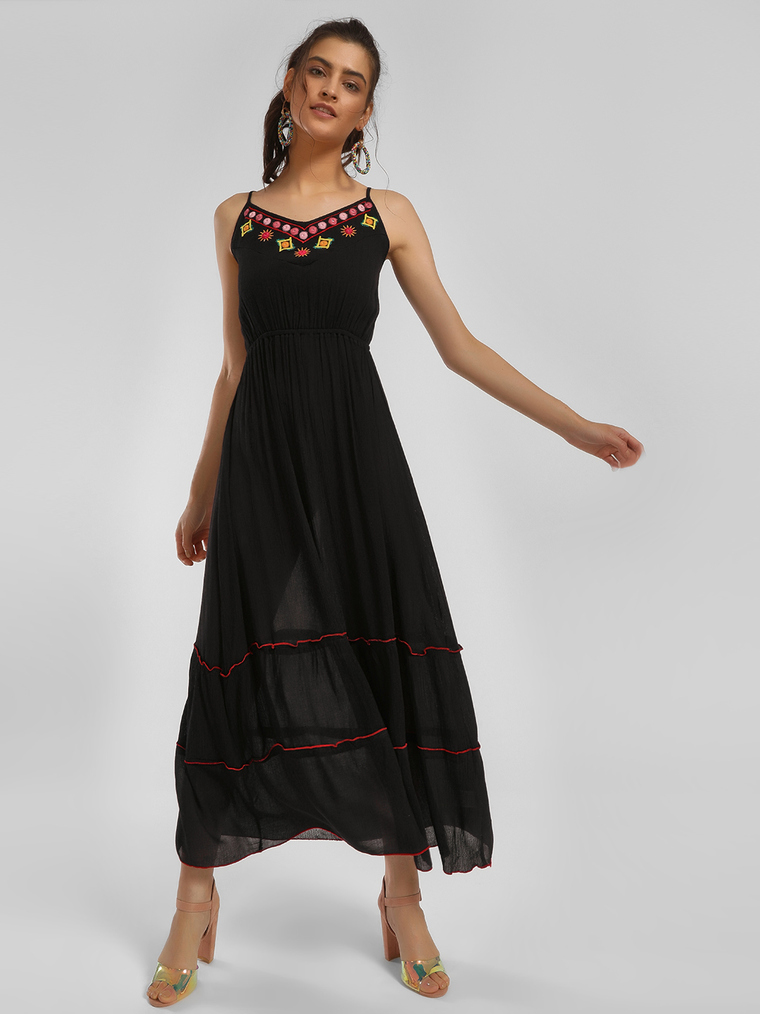 MIWAY Black Afghan Embroidered Tiered Midi Dress 1