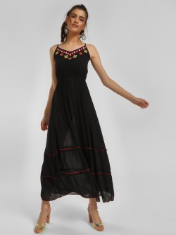 MIWAY Afghan Embroidered Tiered Midi Dress