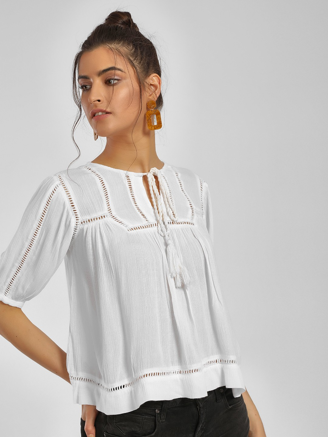 MIWAY White Lace Insert Flared Blouse 1