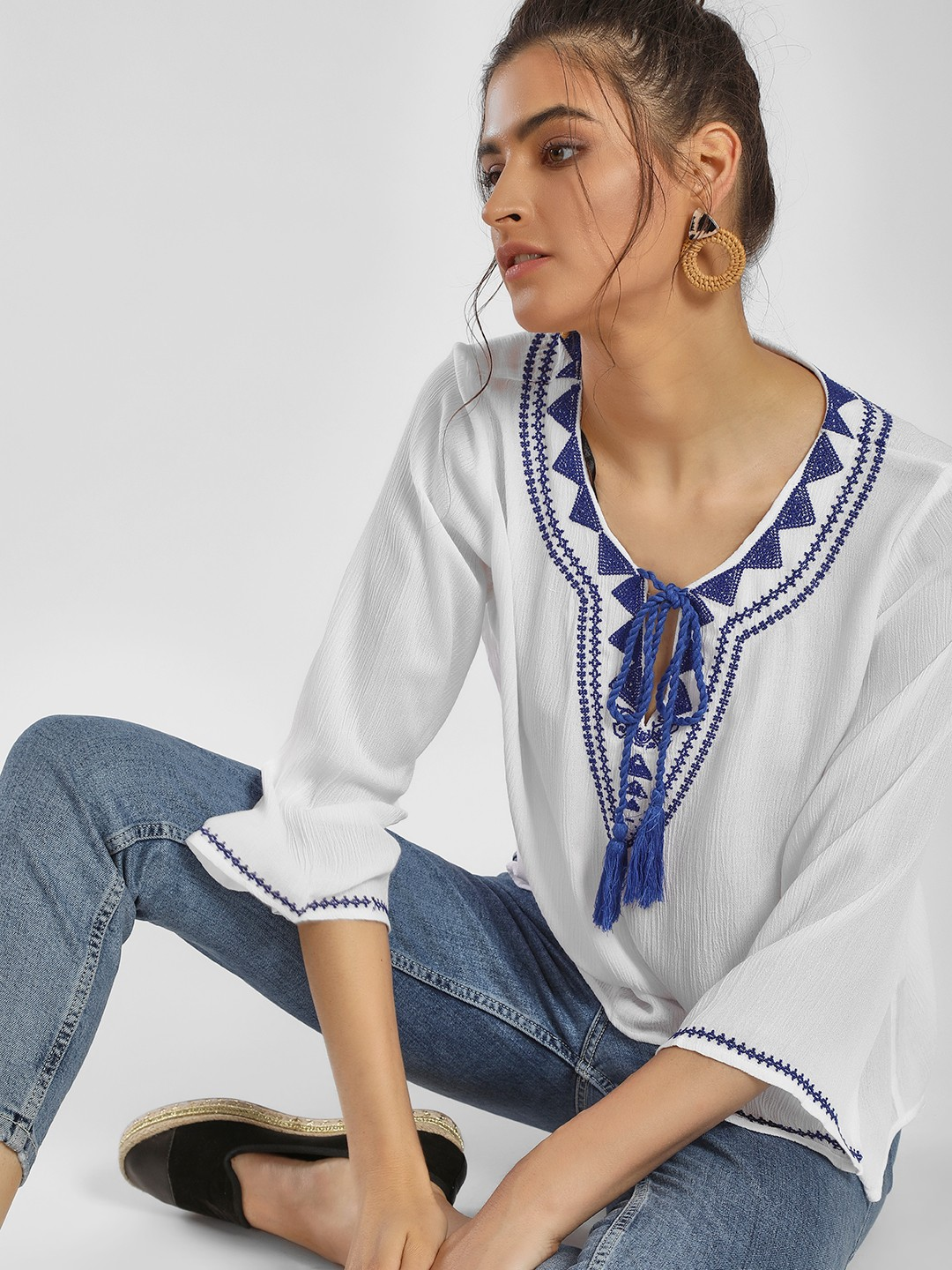 MIWAY White Tribal Embroidered Tassel Tie-Up Blouse 1