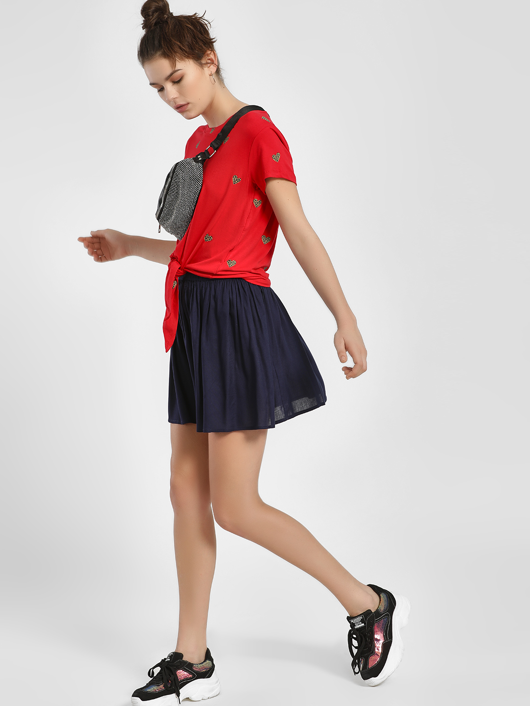 MIWAY Navy Elasticated Mini Skater Skirt 1