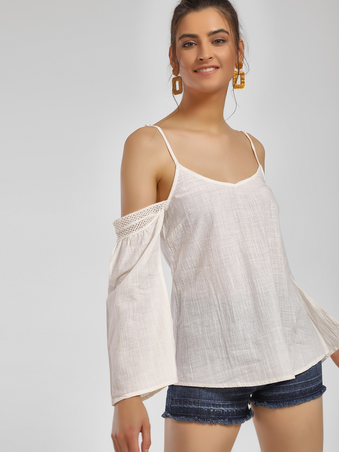 MIWAY White Lace Cold Shoulder Top 1