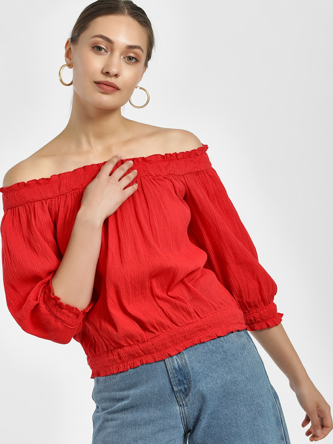 MIWAY Red Smocked & Woven Bandeau Top 1