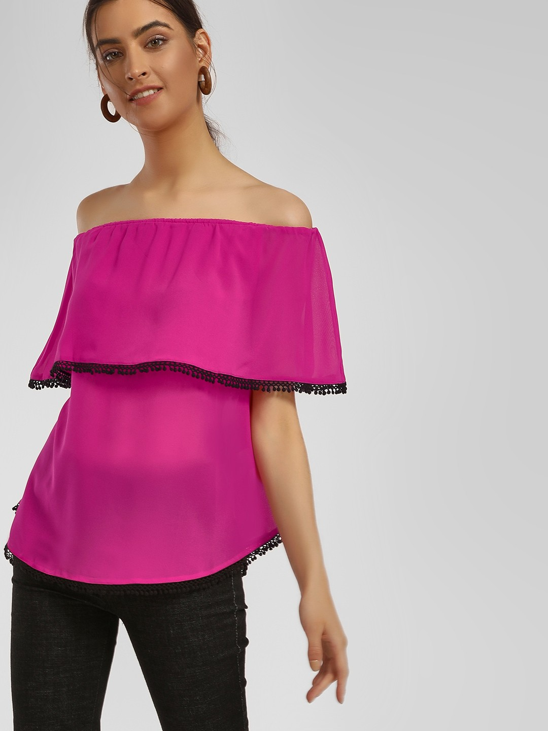 MIWAY Pink Pom-Pom Detail Off-Shoulder Top 1