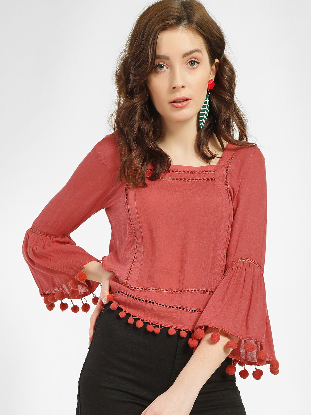 MIWAY Red Pom-Pom Lace Insert Blouse 1