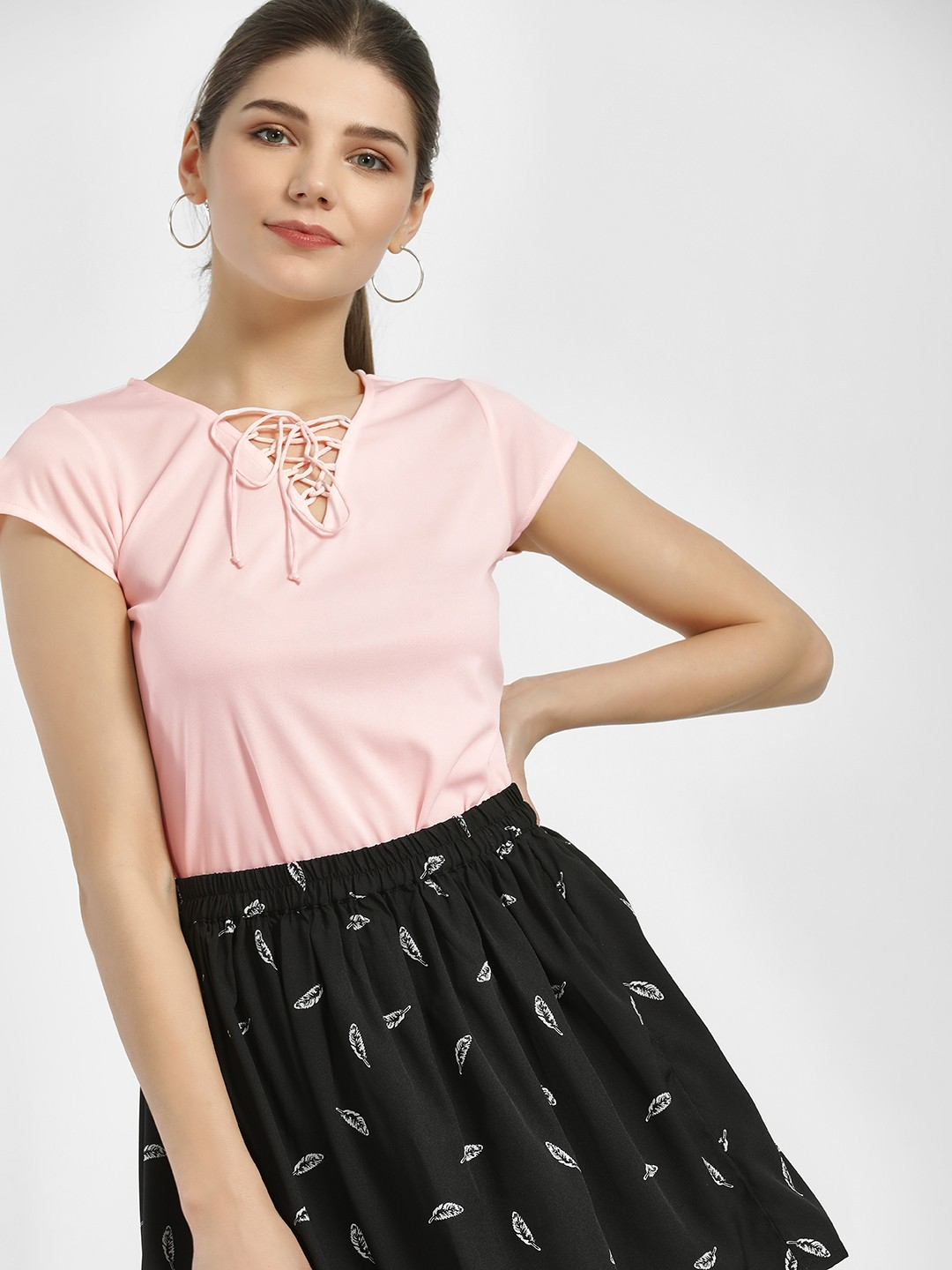 MIWAY Pink Front Tie-Up Blouse 1