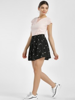 MIWAY Leaf Print Mini Skirt