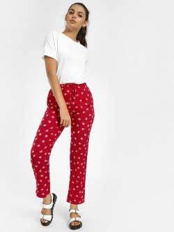 MIWAY All Over Leaf Print Cropped Trousers