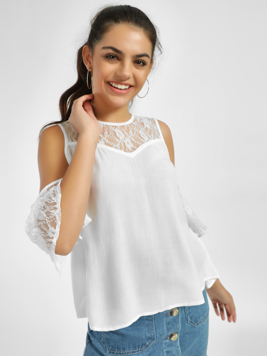 MIWAY White Lace Detail Cold Shoulder Blouse 1