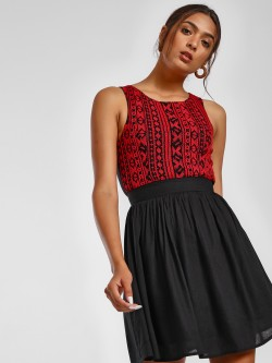 MIWAY Embroidered Yoke Back Cutout Skater Dress