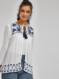 MIWAY Floral Embroidered Tassel Tie-Up Shrug
