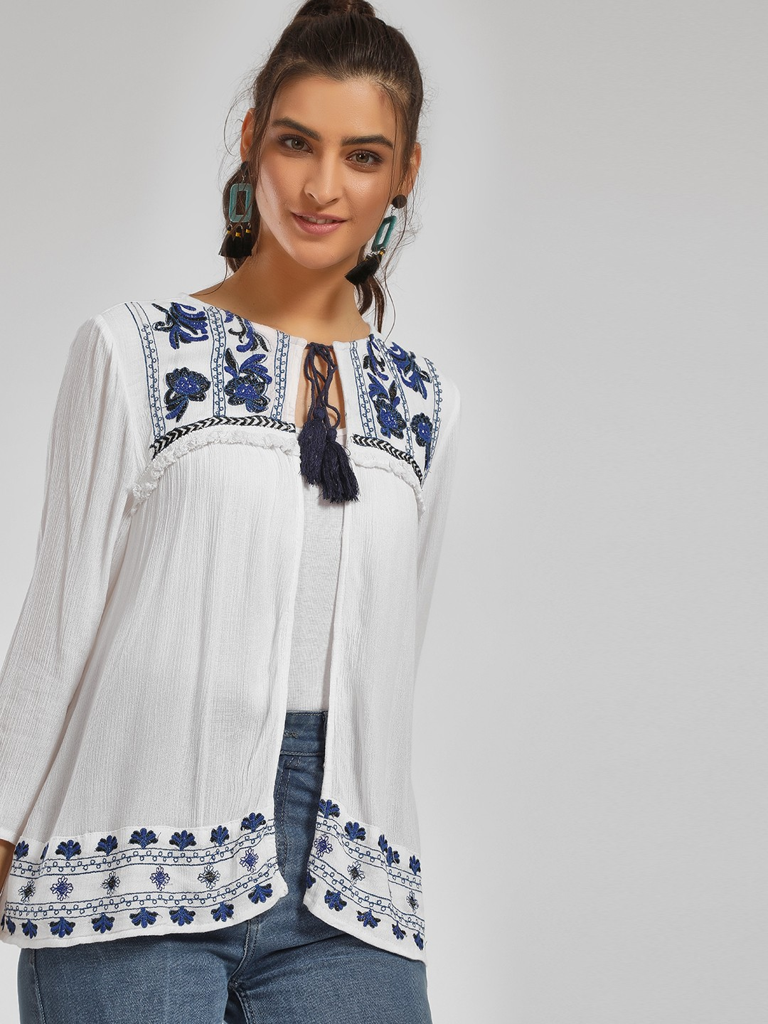 MIWAY White Floral Embroidered Tassel Tie-Up Shrug 1