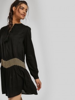MIWAY Embroidered & Bead Embellished Shift Dress