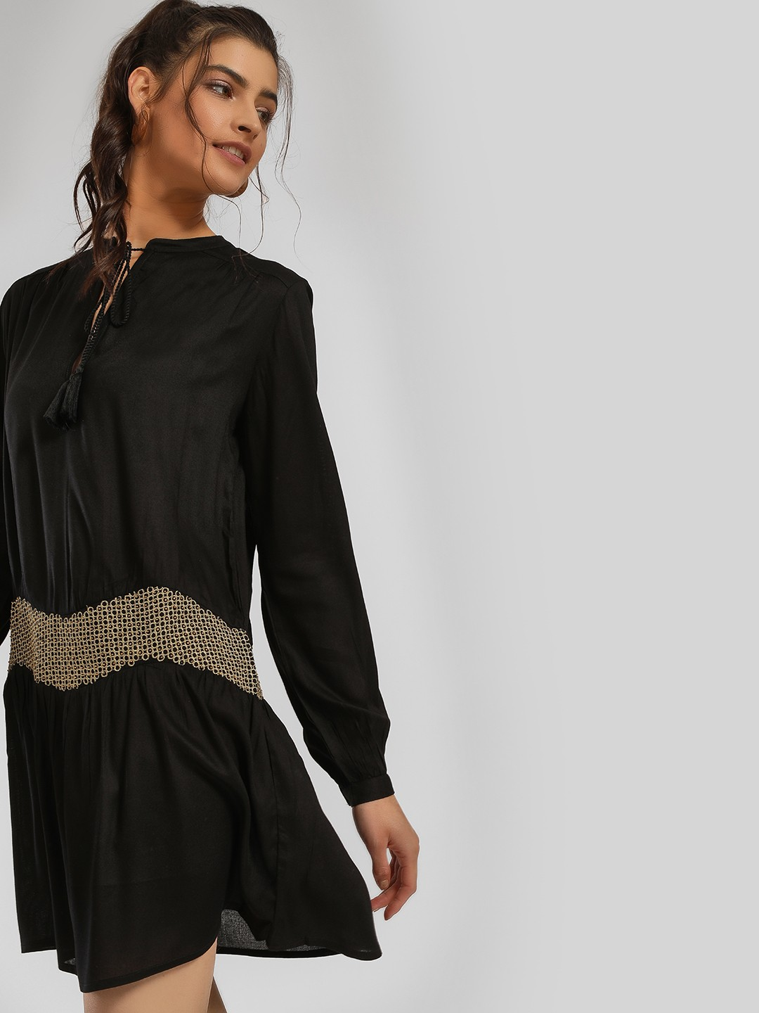 MIWAY Black Embroidered & Bead Embellished Shift Dress 1
