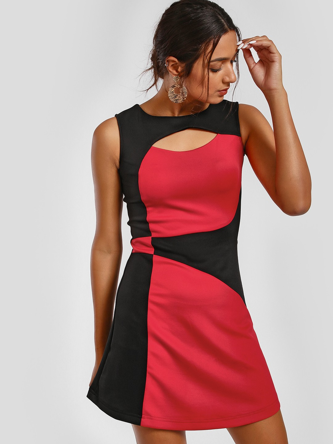 MIWAY Red Colour Block Cutout Shift Dress 1