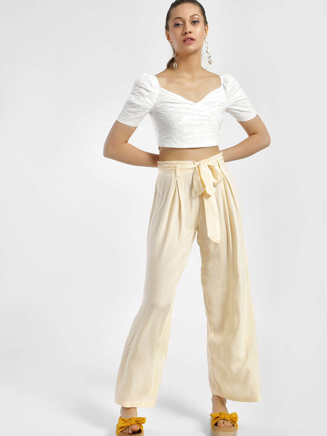 MIWAY Peach Basic Belted Lightweight Trousers 1