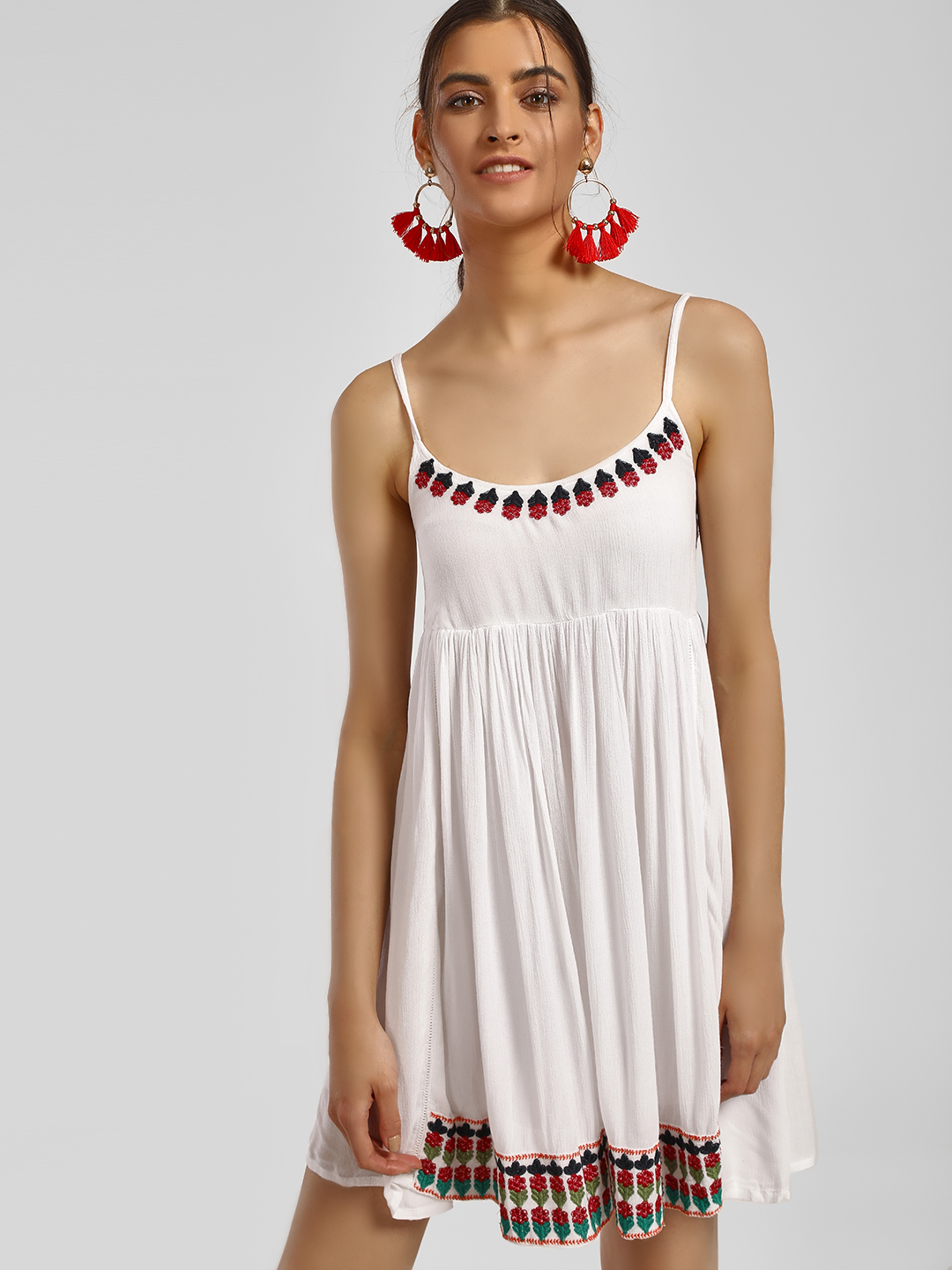 MIWAY White Floral Embroidered Cami Skater Dress 1