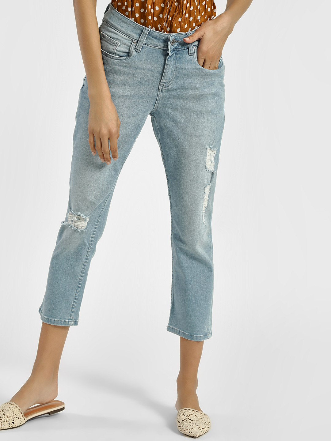 Blue Saint Blue Light Wash Distressed Cropped Jeans 1