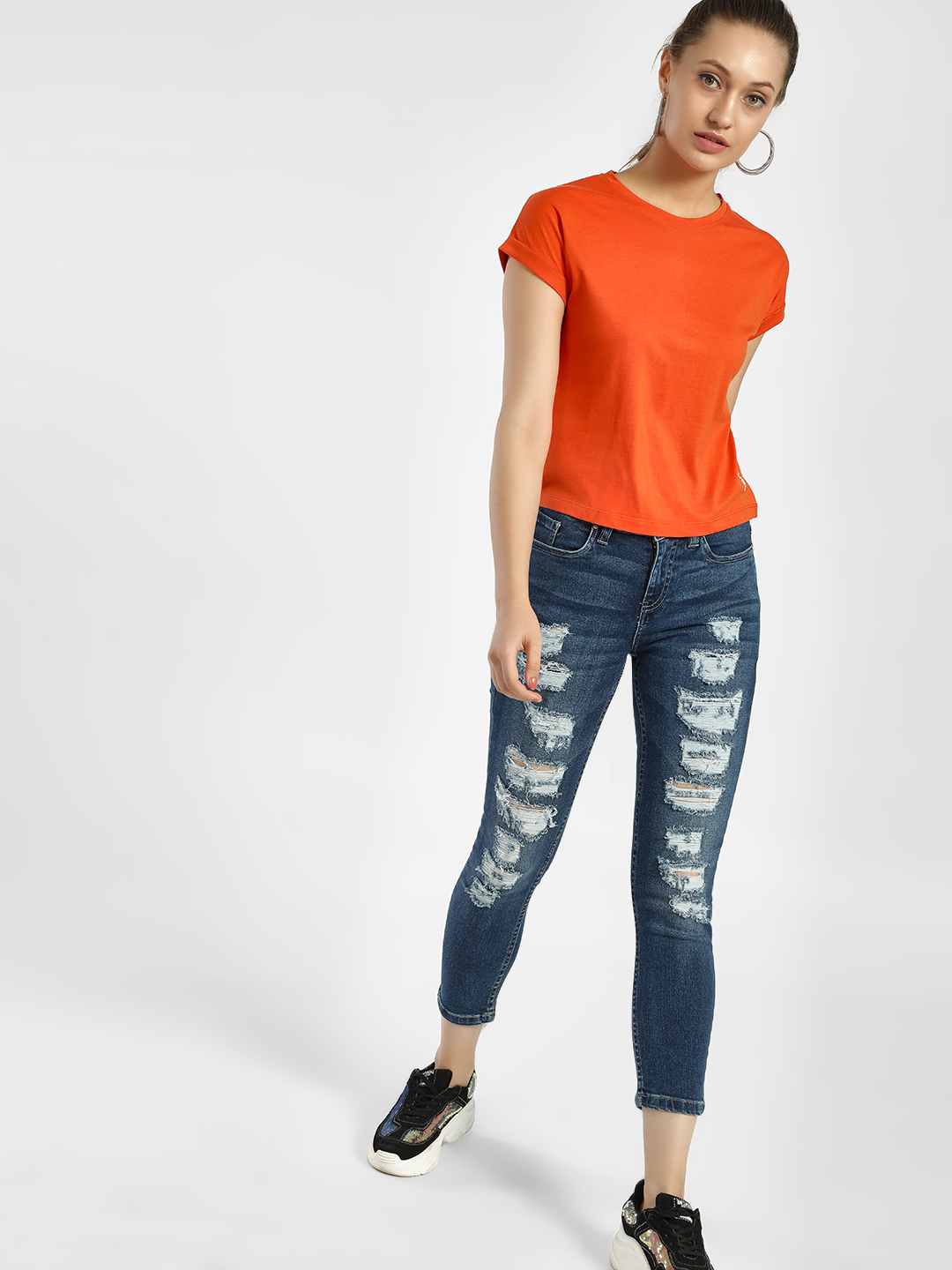 Blue Saint Blue Heavy Distressed Cropped Skinny Jeans 1