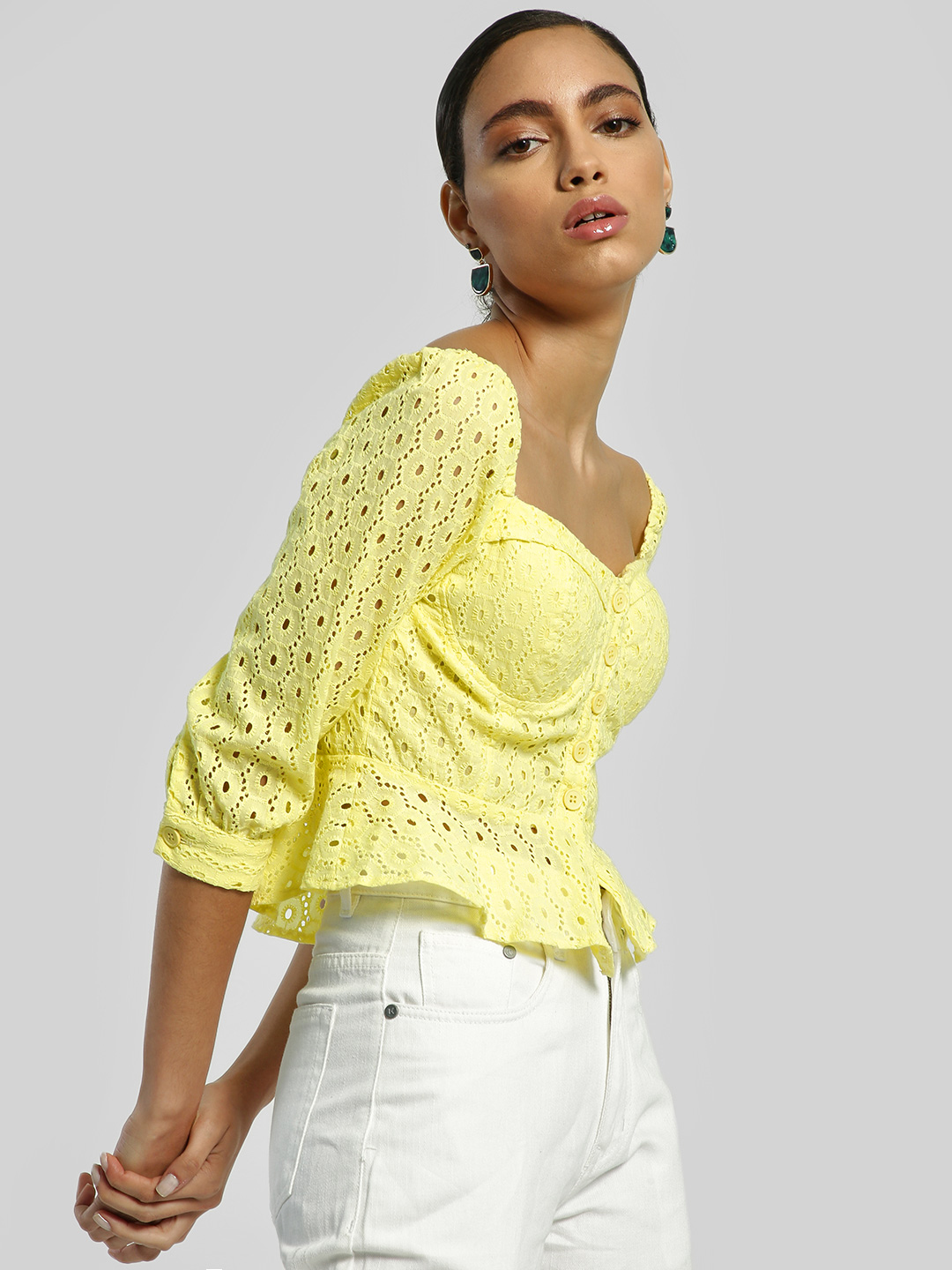 KOOVS Yellow Broderie Square Neck Blouse 1