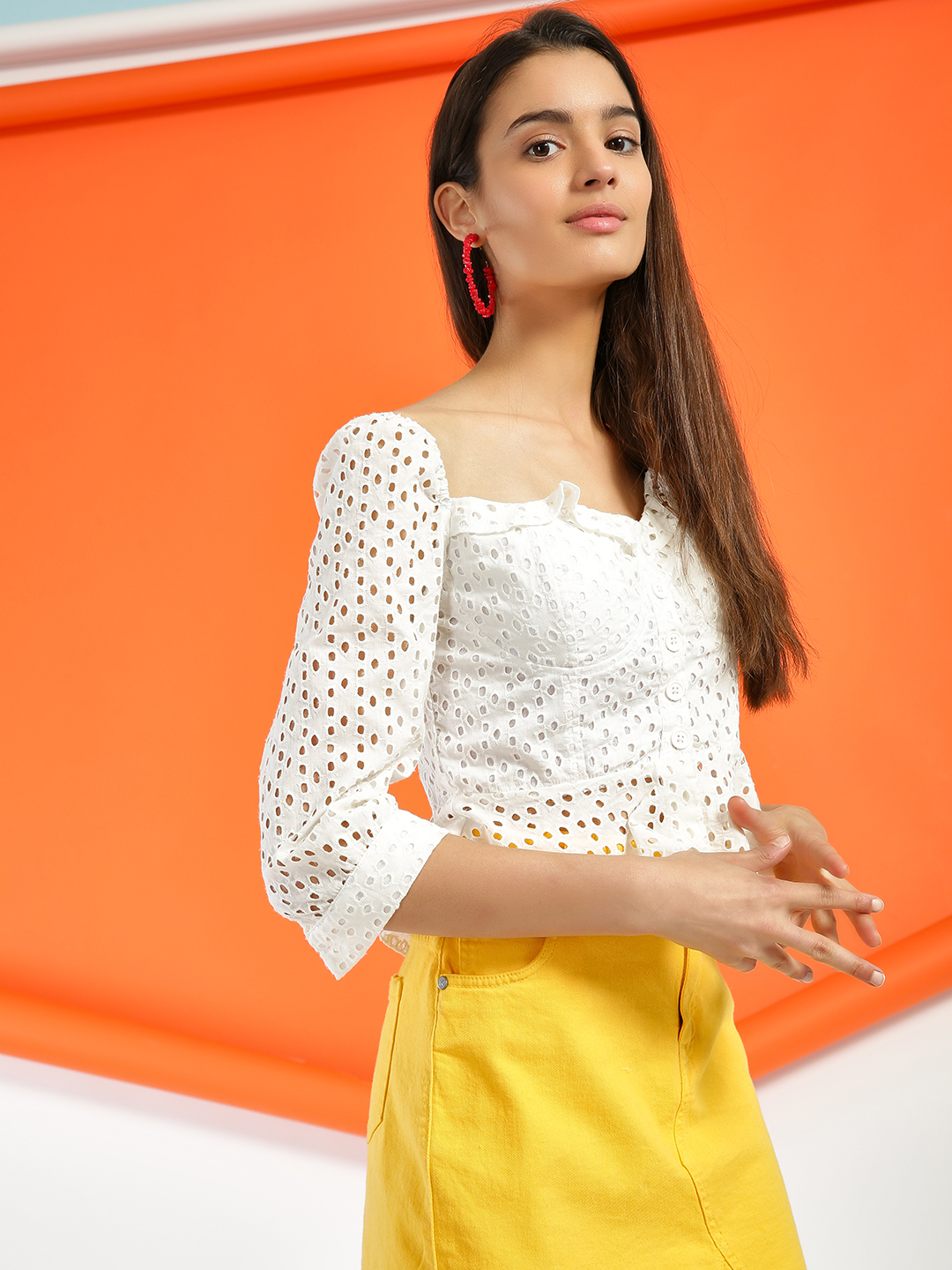 KOOVS White Broderie Square Neck Blouse 1