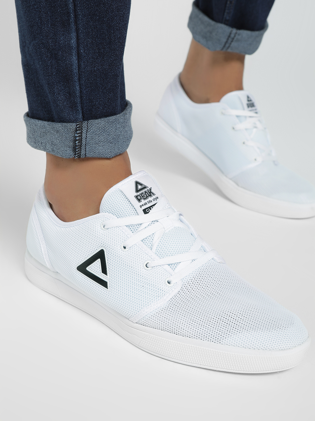 Peak White Honeycomb Mesh Logo Trainers 1