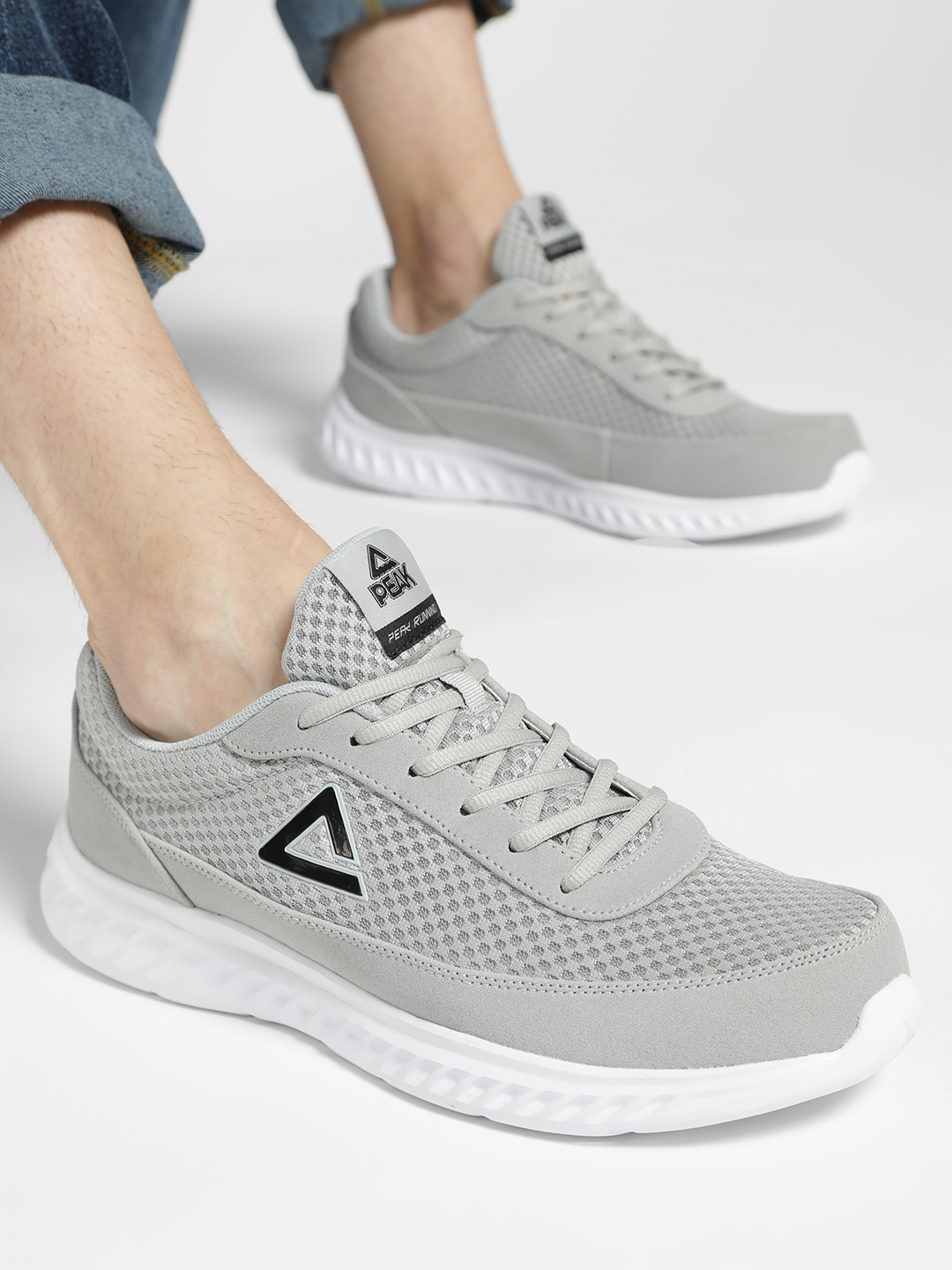 Peak Grey Mesh Suede Panel Running Shoes 1