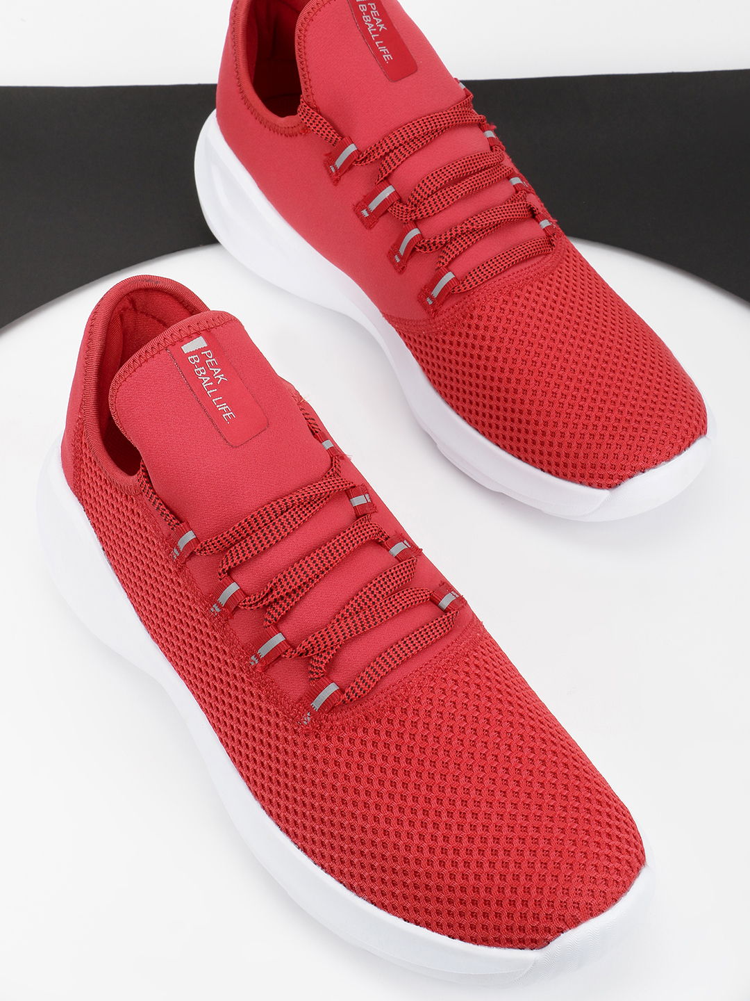 Peak Red Knitted Basketball Shoes 1