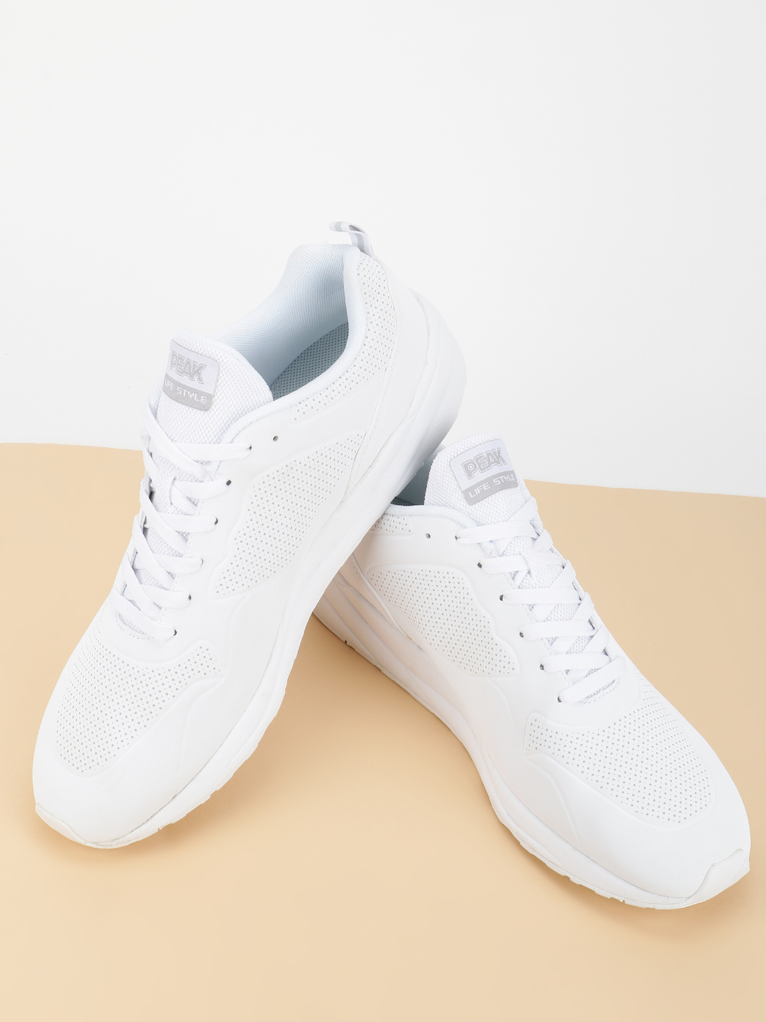 Peak White Embossed Detail Casual Trainers 1