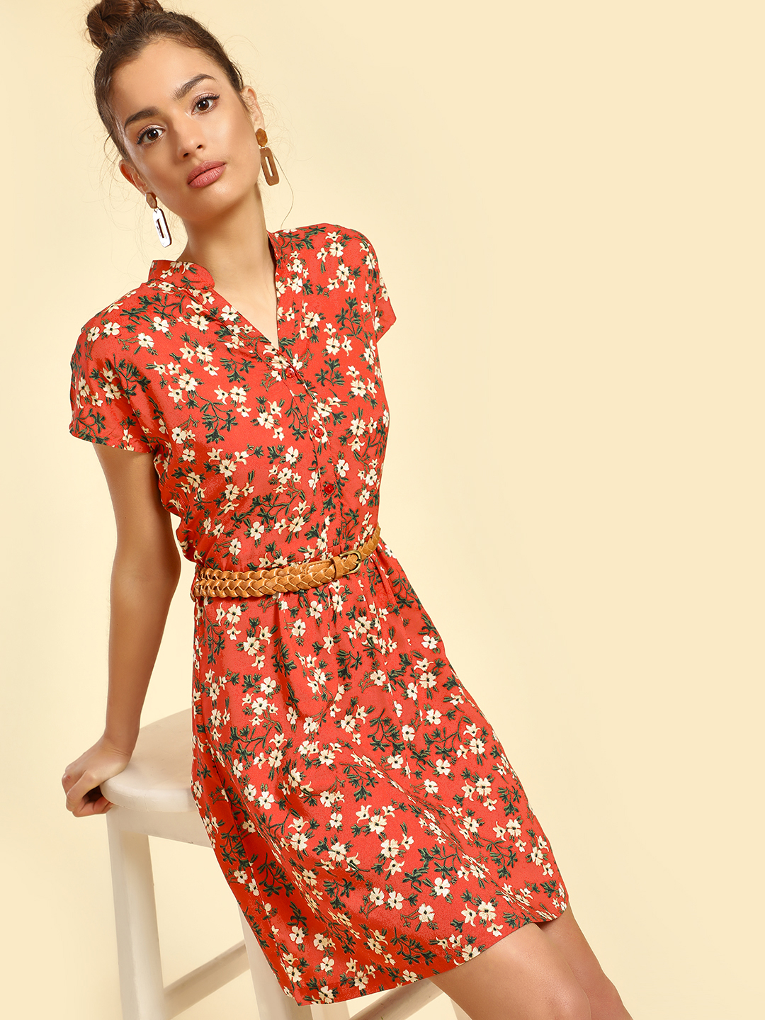 Miaminx Red Floral Print Shift Dress 1