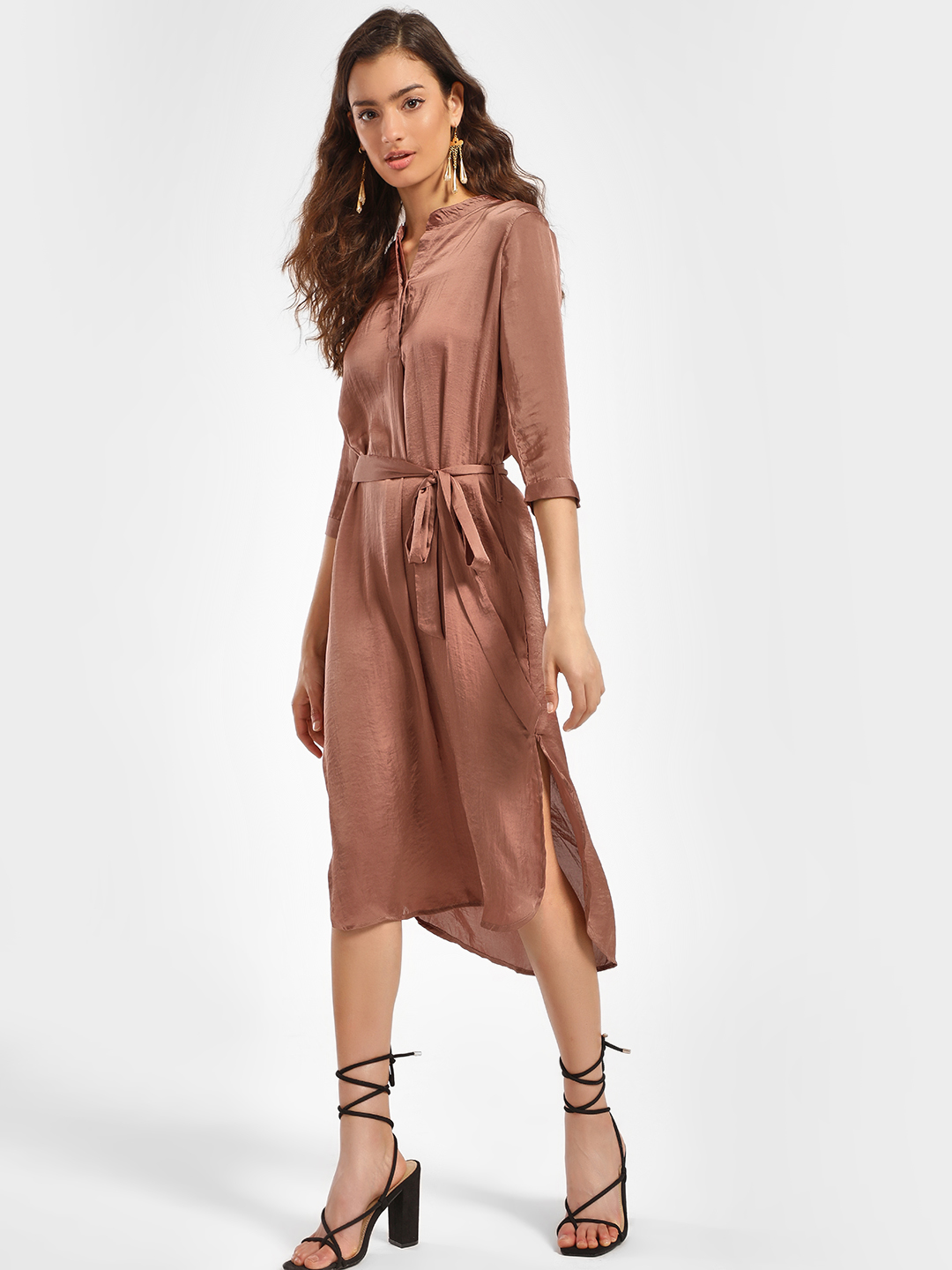Miaminx Brown Collared Satin Midi Dress 1