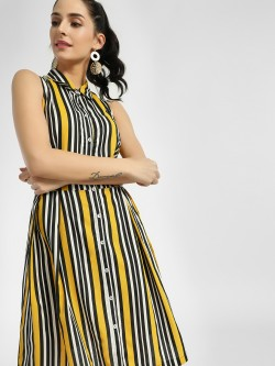 Miaminx Vertical Multi-Stripe Shirt Dress
