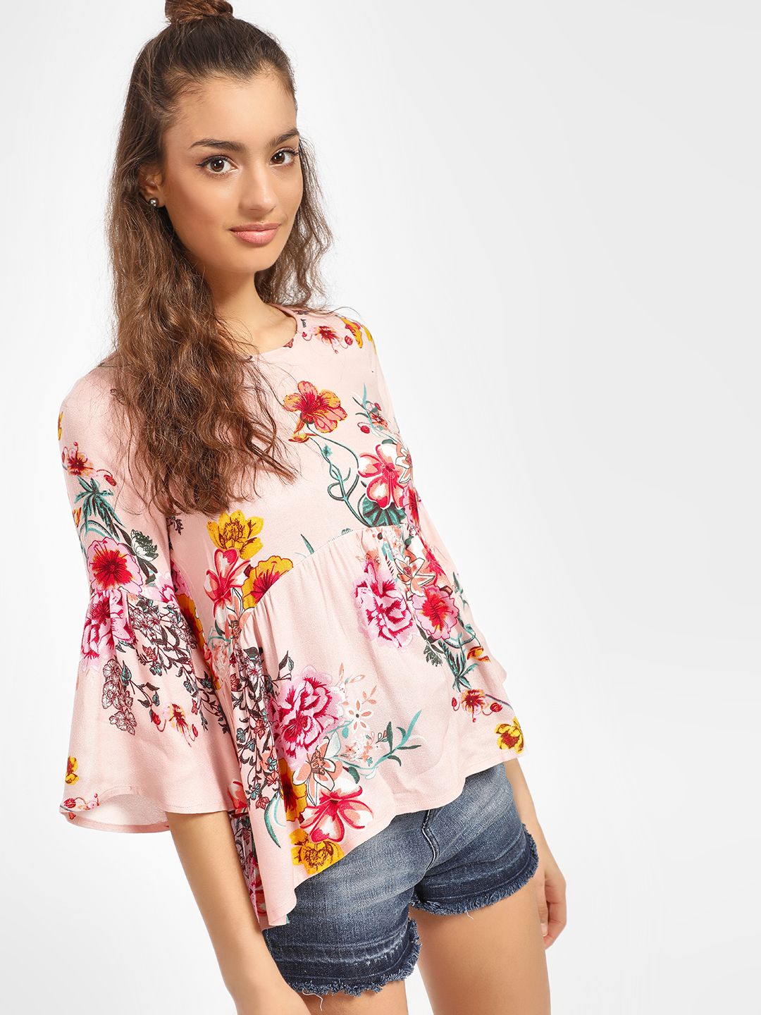 Miaminx Pink Floral Print Flared Sleeve Blouse 1