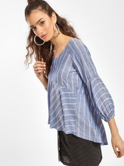 Miaminx Multi Stripe Asymmetric Hem Blouse