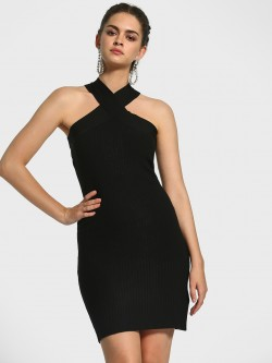 KOOVS Cross-Over Neck Ribbed Bodycon Dress