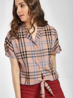 Only Multi-Check Revere Collar Knot Shirt